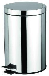 4 Bulk Home Basics 12 Liter Polished Stainless Steel Round Waste Bin, Silver
