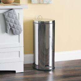 2 Bulk Home Basics 30 Liter Polished Stainless Steel Round Waste Bin, Silver