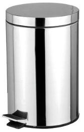 12 Bulk Home Basics 5 Liter Polished Stainless Steel Round Waste Bin, Silver