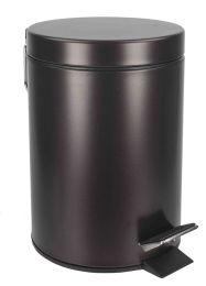 6 Bulk Home Basics 3 Liter Steel Step Waste Bin, Bronze