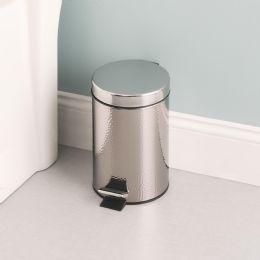 6 Bulk Home Basics Hammered Stainless Steel Waste Bin