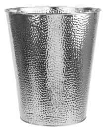 12 Bulk Home Basics Hammered Stainless Steel 5 Liter Waste Bin, Silver