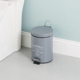 6 Bulk Home Basics Paris 3 Liter Waste Bin, Grey