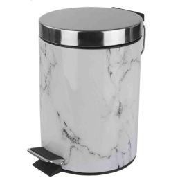 6 Bulk Home Basics Faux Marble 3 Liter Waste Bin, White