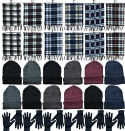 360 Bulk Winter Bundle Care Kit Adult UniseX- Hats Gloves Beanie Fleece Scarf Set In Assorted Colors