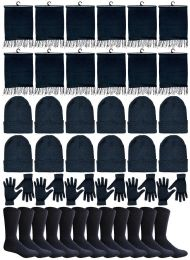 240 Bulk Winter Bundle Care Kit For Woman, 4 Piece - Hats Gloves Beanie Fleece Scarf Set In Solid Black