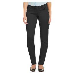 12 Bulk Women's Cotton Skinny Chino Pencil Stretch Pants Black Size 6