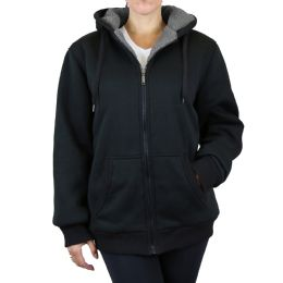 12 Bulk Women's Loose Fit Oversize Full Zip Sherpa Lined Hoodie Fleece - Black Size Large