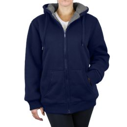 12 Bulk Women's Loose Fit Oversize Full Zip Sherpa Lined Hoodie Fleece - Navy Size Large