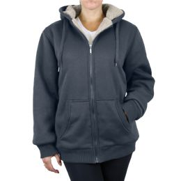 12 Bulk Women's Loose Fit Oversize Full Zip Sherpa Lined Hoodie Fleece - Charcoal Size Large