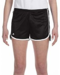 36 Bulk Women's Russell Athletic Active Shorts In Black And White, Size X-Large