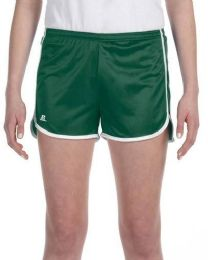 36 Bulk Women's Russell Athletic Active Shorts In Dark Green And White,size Small