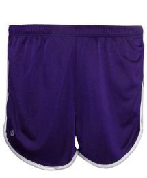 36 Bulk Women's Russell Athletic Active Shorts In Purple And White,size Small