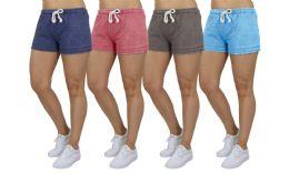 72 Bulk Women's Soft Fleece Lounge Shorts Assorted Sizes In Navy