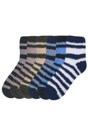 120 Bulk Mens Striped Plush Soft Socks Size 10-13