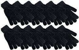 48 Bulk Womens Black Chenille Winter Glove
