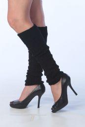 60 Bulk Womens Thick Heavy Legwarmers In Solid Black