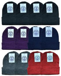 12 Bulk Yacht & Smith Ladies Winter Toboggan Beanie Hats In Assorted Colors