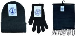 72 Bulk Yacht & Smith 3 Piece Winter Care Set, Solid Black Hat Glove Scarf Bulk Buy
