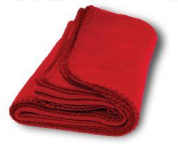 6 Bulk Yacht & Smith 60x90 Fleece Blanket, Soft Warm Compact Travel Blanket, Red