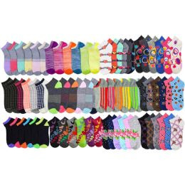 240 Bulk Yacht & Smith Assorted Pack Of Womens Low Cut Printed Ankle Socks Size 9-11