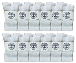 24 Bulk Yacht & Smith Kids Cotton Crew Socks White With Gray Heel And Toe Size 4-6 Bulk Pack