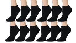 12 Bulk Yacht & Smith Kids Cotton Quarter Ankle Socks In Black Size 4-6
