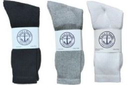 360 Bulk Yacht & Smith King Size Men's Cotton Crew Socks Set Assorted Colors Black, White Gray Size 13-16