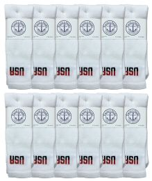 240 Bulk Yacht & Smith Men's Cotton 28 Inch Tube Socks, Referee Style, Size 10-13 White With Usa Print Bulk Buy