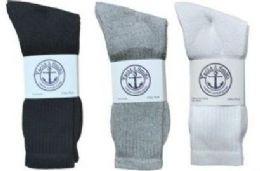 720 Bulk Yacht & Smith Men's Cotton Crew Socks Set Assorted Colors Black, White Gray Size 10-13 Case Set