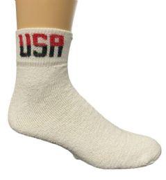 72 Bulk Yacht & Smith Men's King Size Cotton USA Sport Ankle Socks Size 13-16 Solid White USA Print