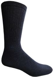 60 Bulk Yacht & Smith Men's King Size Cotton Terry Cushioned Crew Socks Navy Size 13-16 Bulk Pack