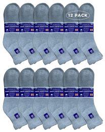 12 Bulk Yacht & Smith Men's Loose Fit Non-Binding Cotton Diabetic Ankle Socks, Gray King Size 13-16