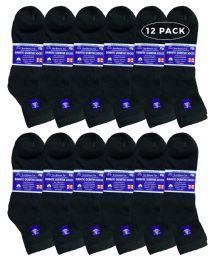 6 Bulk Yacht & Smith Men's Loose Fit Non-Binding Cotton Diabetic Ankle Socks Black King Size 13-16