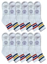 24 Bulk Yacht & Smith Men's King Size Cotton Sport Ankle Socks Size 13-16 With Stripes Bulk Pack