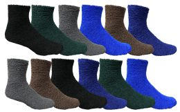 60 Bulk Yacht & Smith Men's Warm Cozy Fuzzy Socks Solid Assorted Colors, Size 10-13