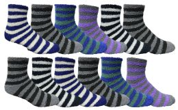 48 Bulk Yacht & Smith Men's Warm Cozy Fuzzy Socks, Stripe Pattern Size 10-13
