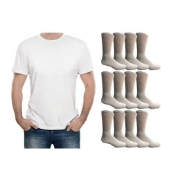 120 Bulk Yacht & Smith Men's White Cotton Crew Socks Size 10-13 And White Solid T-Shirt Size Large