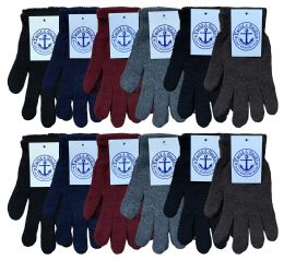 240 Bulk Yacht & Smith Men's Winter Gloves, Magic Stretch Gloves In Assorted Solid Colors