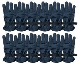 2196 Bulk Yacht & Smith Men's Winter Warm Ski Gloves, Fleece Lined With Black Gripper Water Resistant Bulk Buy