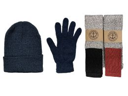 144 Bulk Yacht & Smith Mens 3 Piece Winter Set , Thermal Tube Socks Black Gloves And Beanie Hat
