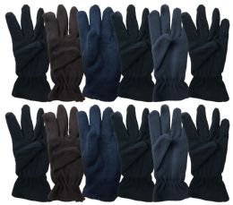 144 Bulk Yacht & Smith Mens Double Layer Heavy Fleece Gloves Packed Assorted Colors Bulk Buy