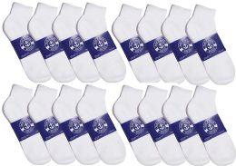 48 Bulk Yacht & Smith Mens Lightweight Cotton Quarter Ankle Socks In Bulk, White Size 9-11