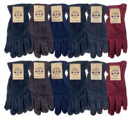 24 Bulk Yacht & Smith Mens Winter Fleece Gloves With Snug Fit Cuff Light Comfortable Weight
