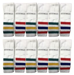 24 Bulk Yacht & Smith Men's Cotton Tube Socks, Referee Style, Size 10-13 White With Stripes