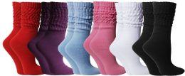 6 Bulk Yacht & Smith Slouch Socks For Women, Assorted Bold Basics Sock Size 9-11