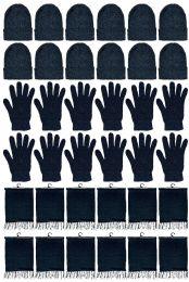 24 Bulk Yacht & Smith Unisex 3 Piece Pre Assembled Winter Care Set Hat Gloves & Scarf Solid Black