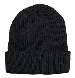 240 Bulk Yacht & Smith Unisex Black Stretch Ribbed Sherpa Beanie, Super Warm Winter Beanie