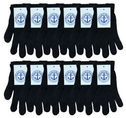 120 Bulk Yacht & Smith Unisex Black Stretchy Winter Magic Gloves