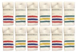 12 Bulk Yacht & Smith Kids Cotton Tube Socks Size 6-8 White With Stripes
